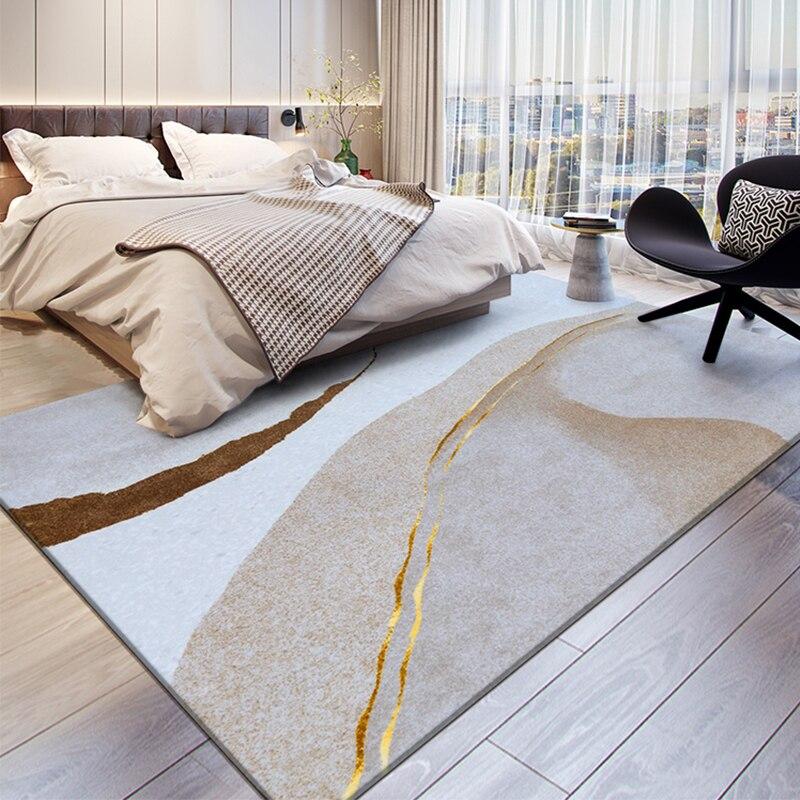 سجادة إسكندنافية فاخرة وفاخرة لغرفة المعيشة ، غرفة نوم من جلد الغنم المخملي ، مجردة ، لطاولة القهوة ، منطقة كبيرة ، طاولة بجانب السرير