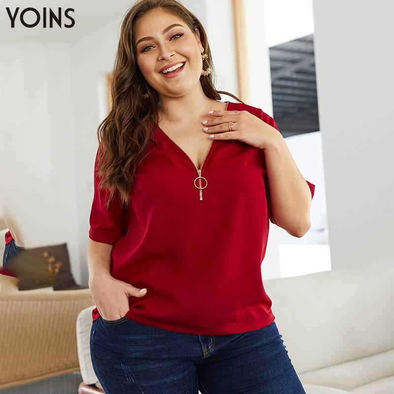 Blusa YOINS elegante de talla grande con cuello en V y cremallera frontal de media manga para mujer, camisas de primavera y verano de 2020, Tops casuales, Túnica y Chic de oficina