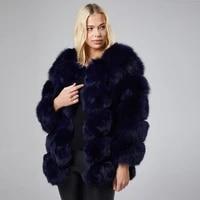 navy fox fur jacket plus size coat 2021 new autumn winter warm fashion women overcoat