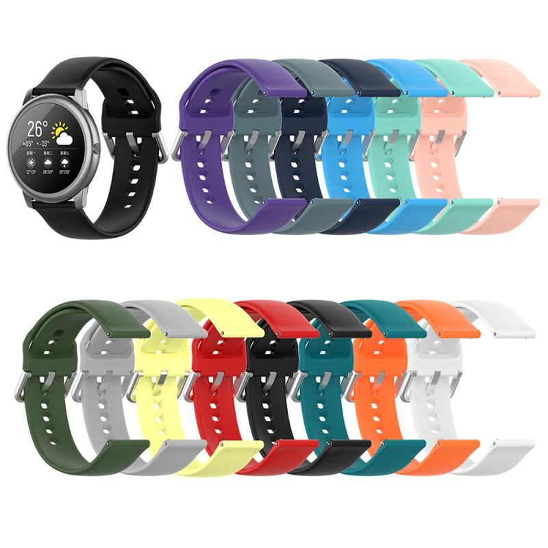 Correa de reloj de silicona suave de 22mm para Xiaomi Haylou Solar LS05, reloj inteligente Color puro, hebilla plateada, Correa deportiva