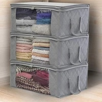 3pcs foldable home storage box storage bag non woven family save spacequilt organizer holder anti dust clothes container