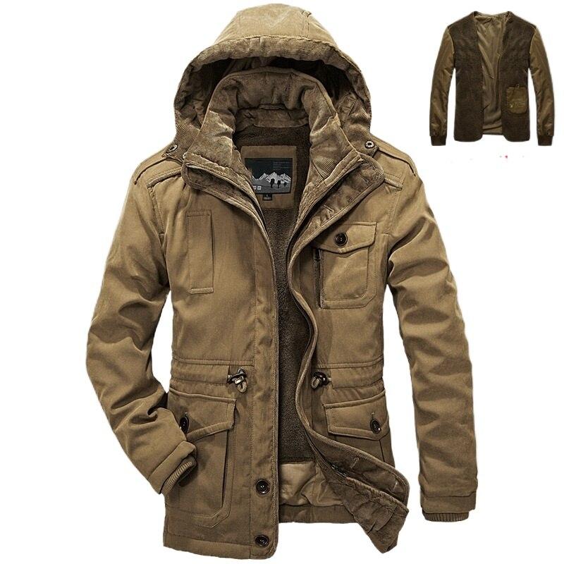 Паркер пальто повседневная классическая зимняя куртка Мужская ветрозащитная теплая куртка с капюшоном модная верхняя одежда мужская плюш...