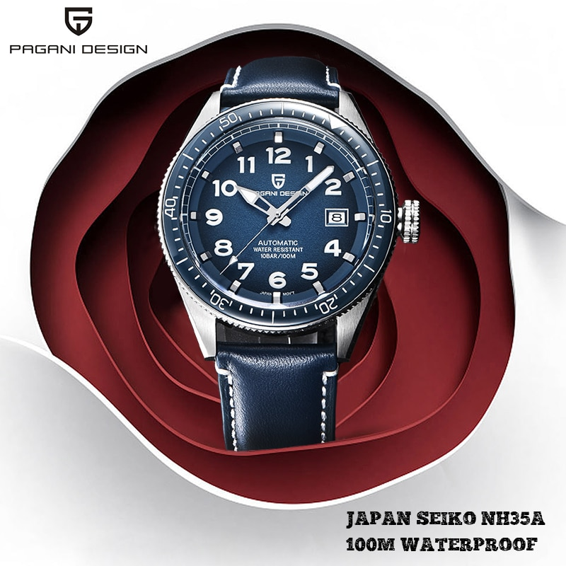 باجاني-تصميم ساعة أوتوماتيكية للرجال ، أفضل علامة تجارية فاخرة ، ساعة يد ميكانيكية زرقاء ، مقاومة للماء ، 100 متر ، ساعة رياضية Relogio Masculino