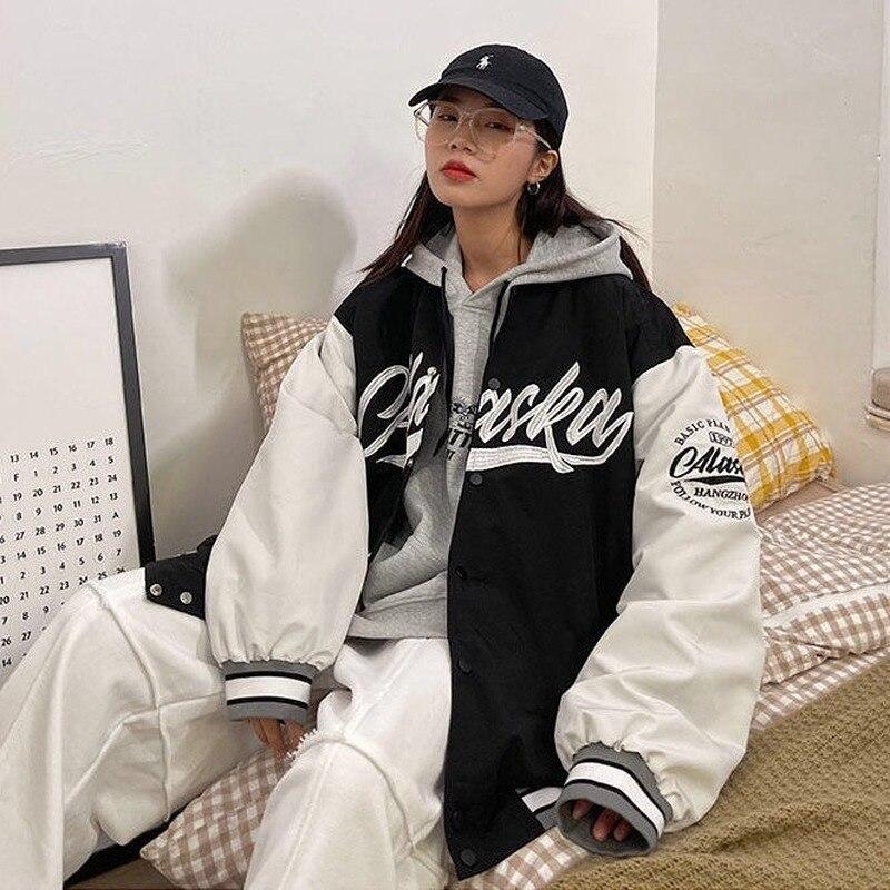 Осенняя Женская куртка-бомбер большого размера, куртка-бомбер в стиле бойфренда с вышитыми буквами, Женская свободная бейсбольная куртка, ж...