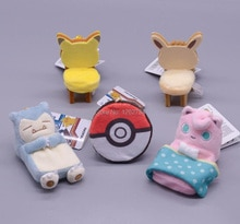 10PCS Pikachu Eevee Stool Snorlax Jigglypuff Bed Ball Table 10CM Plush Keychain Pendant Anime Cartoon Soft Kids Gifts Toy