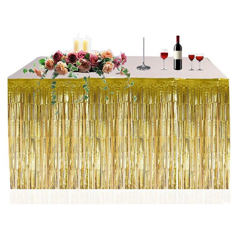 Cortinas de lluvia de 2,74x0,74 m, papel de aluminio con borlas, telón de fondo para Baby Shower, decoración para el hogar, bodas, cumpleaños