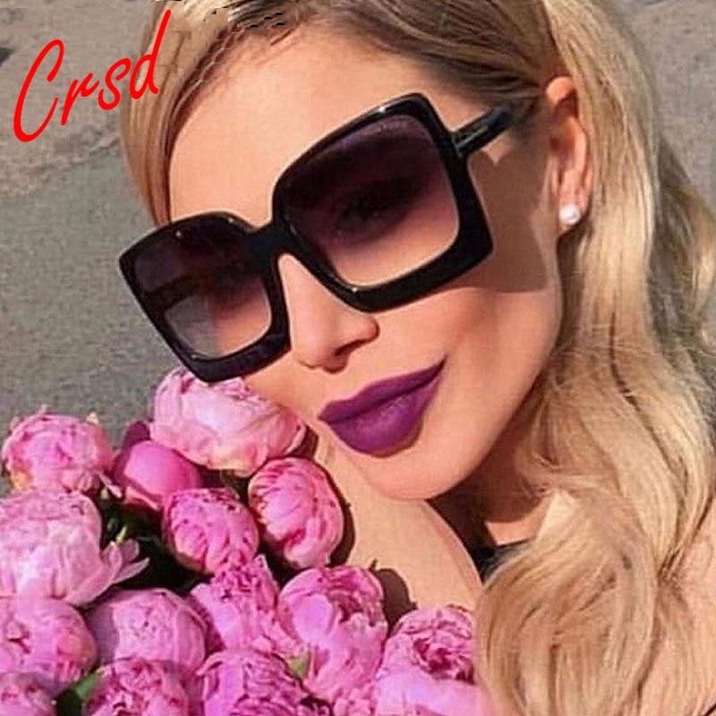 2020 Oversized Square Sun Glasses Semi Rimless Brand Designer Clear Sunglasses Women Frame Vintage S