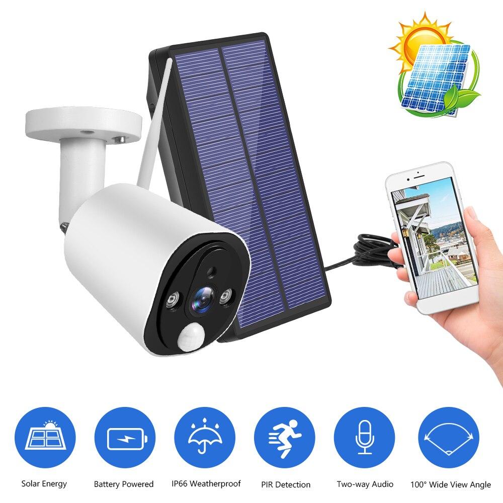 كاميرا أمان لاسلكية تعمل بالطاقة الشمسية ، 1080P HD WiFi ، 2-Way ، رؤية ليلية ، كشف الحركة ، مقاومة للماء ، للاستخدام في الهواء الطلق