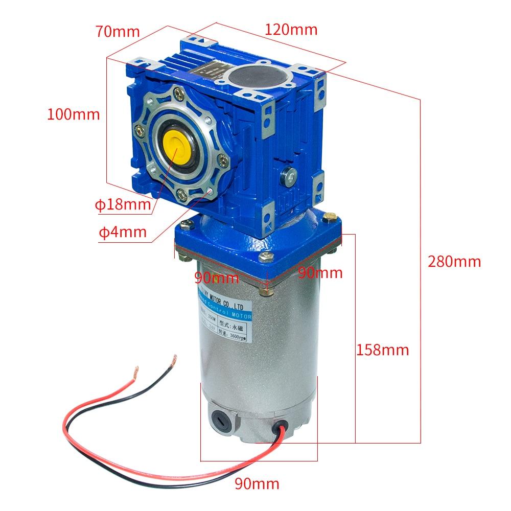 Motor de engranajes DC de par súper alto con 040 caja de cambios 24V DC 90V 220V 180W 250W 22-240Rpm DC Motor de imán permanente sin eje