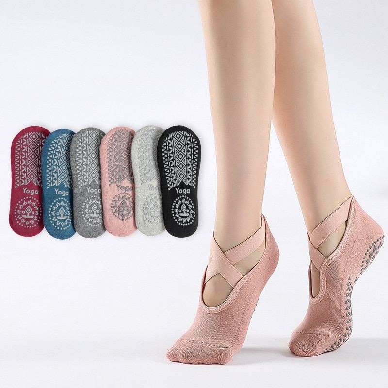 Женские носки, носки для йоги, махровые утолщенные Носки для йоги, квадратные нескользящие спортивные носки с дозатором, нескользящие носки...
