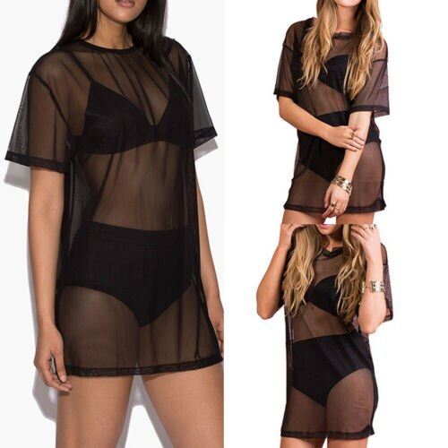 Women Ladies Sexy Short Sleeve Black Mesh Sheer Beach Bikini Cover Up Pullover Casual Loose Mini Dress T-Shirts Plus size Summer