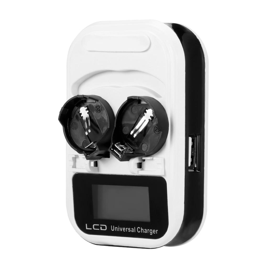 Botón de cargador de batería de 2 ranuras de 3,6 V dos ranuras de recarga para LIR2016/LIR2025/LIR2032/ML2016/ML2025/ML2032 indicador inteligente