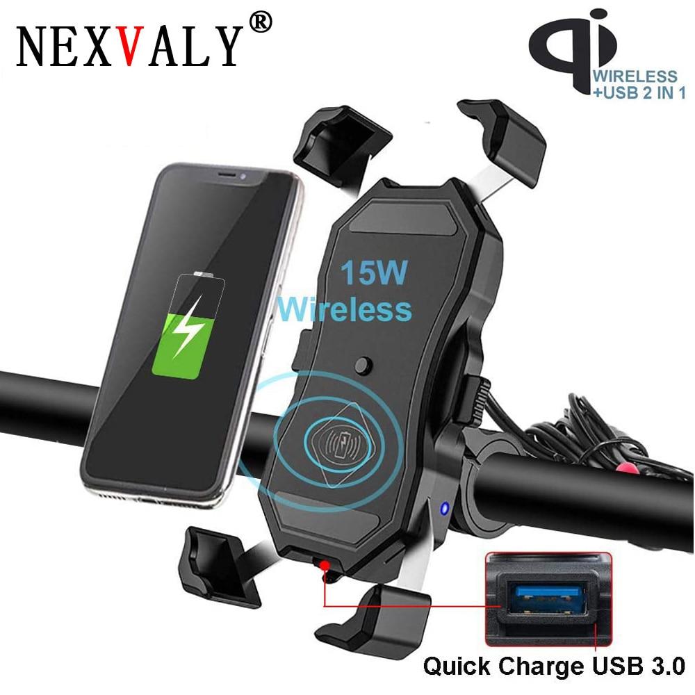 NEXVALY Phone Holder Wireless Charger 15W Motorcycle USB Phone Mount Handlebar Stand 360 Degree Rotation Bracket