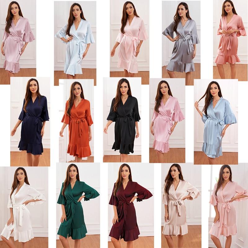 2021 гофрированный халат, Атласный халат, свадебные халаты, халаты невесты, халаты невесты, шелковый халат для женщин