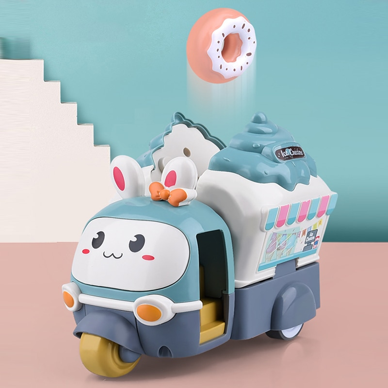 Детская мультяшная катапульта, катапульта, машина для мороженого, трехколесный мотоцикл, инерционная игрушка, милый кролик, детские развив...