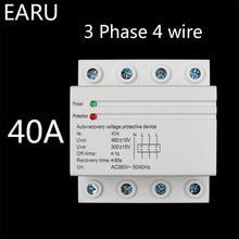 32A 60A 380V 3P + N Din Rail auto-récupération   Remontage automatique, relais de Protection contre léclairage sous tension