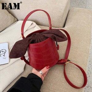 [EAM] Новые женские винно-красная с завязками ведро из искусственной кожи личности все-матч сумки через плечо, женская сумка, модная прилив 2020 ...