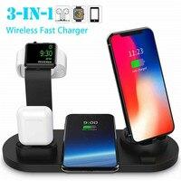Беспроводное зарядное устройство PYMH 3 в 1 Qi, беспроводная быстрая зарядная станция, держатель для Apple Watch Airpods iPhone, гарнитура для мобильного те...