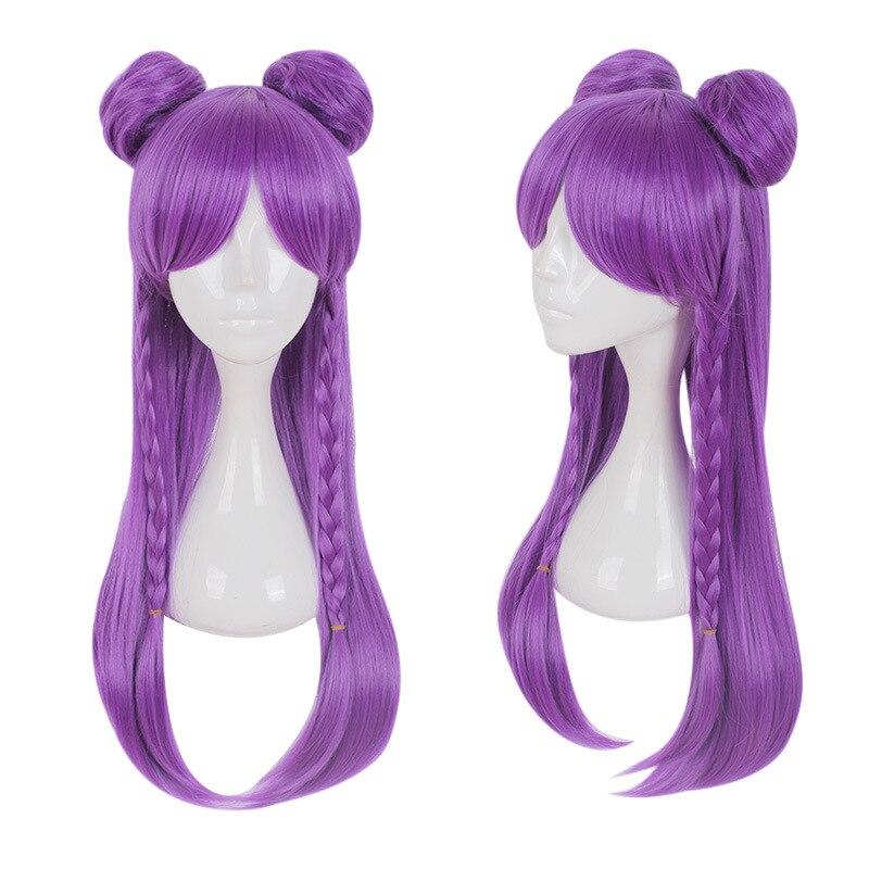 Peluca Kaisa juego LOL K/DA Kaisa Cosplay pelucas largo púrpura KDA Cosplay peluca con Buns Halloween pelo sintético resistente al calor