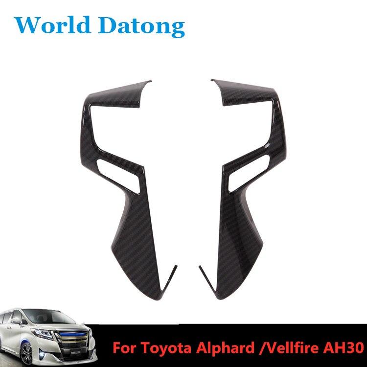 2 piezas de fibra de carbono de volante de coche decoración cubierta de marco para Toyota Alphard / Vellfire AH30 2016-2019