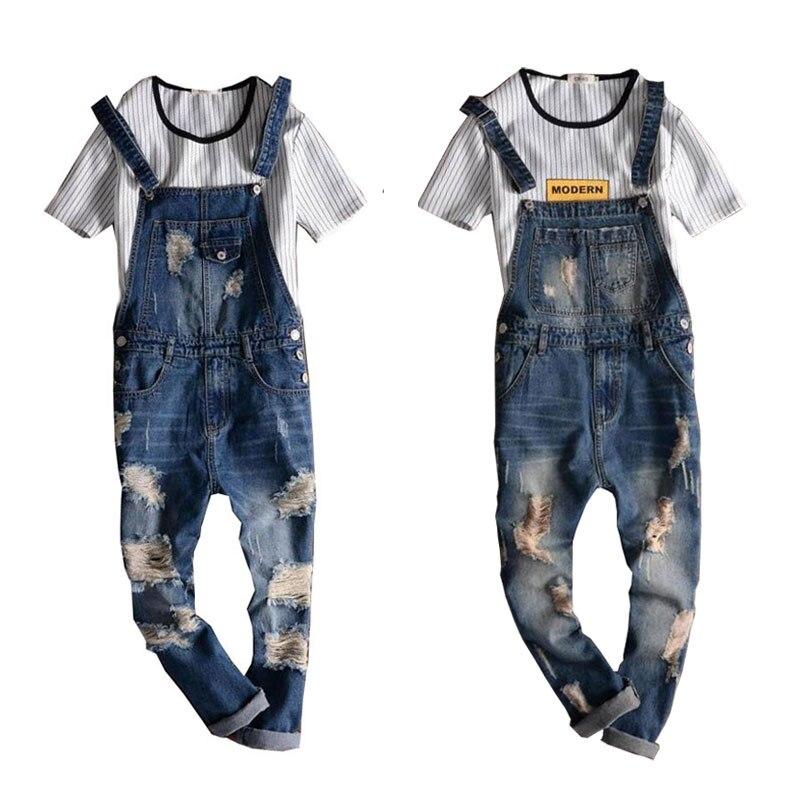 Macacão denim masculino novo casual luz azul denim macacões jeans rasgados bolsos bib calças de brim masculino macacões namorado