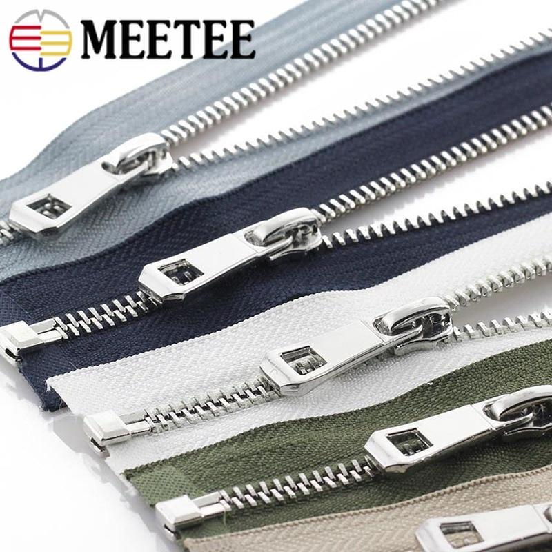 2pcs Meetee 5# Metal Zipper 35-85cm Open-end Zip Closure for Sewing Down Jacket Coat Purse Pocket Ba