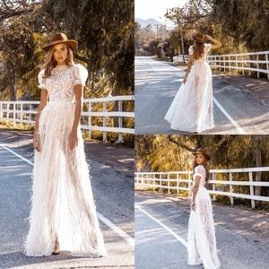 New Bohemian Wedding Dresses Short Sleeve Sweep Train Lace Appliques Beach Wedding Dress Boho A Line Feather Robe De Soiree