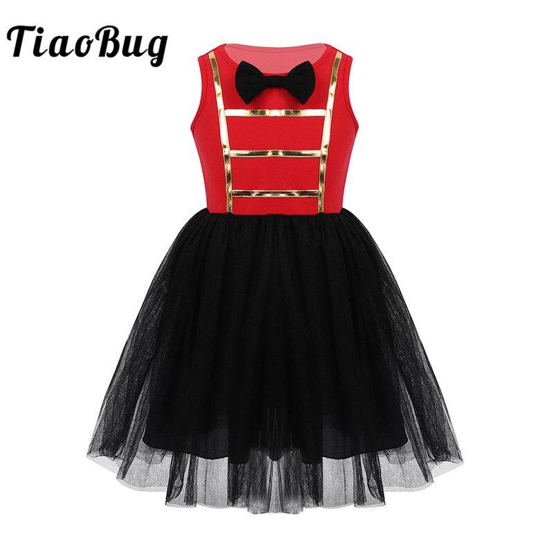TiaoBug niños niñas Showman disfraz sin mangas Bowtie malla tutú vestido niños Halloween Cosplay tema Fiesta traje