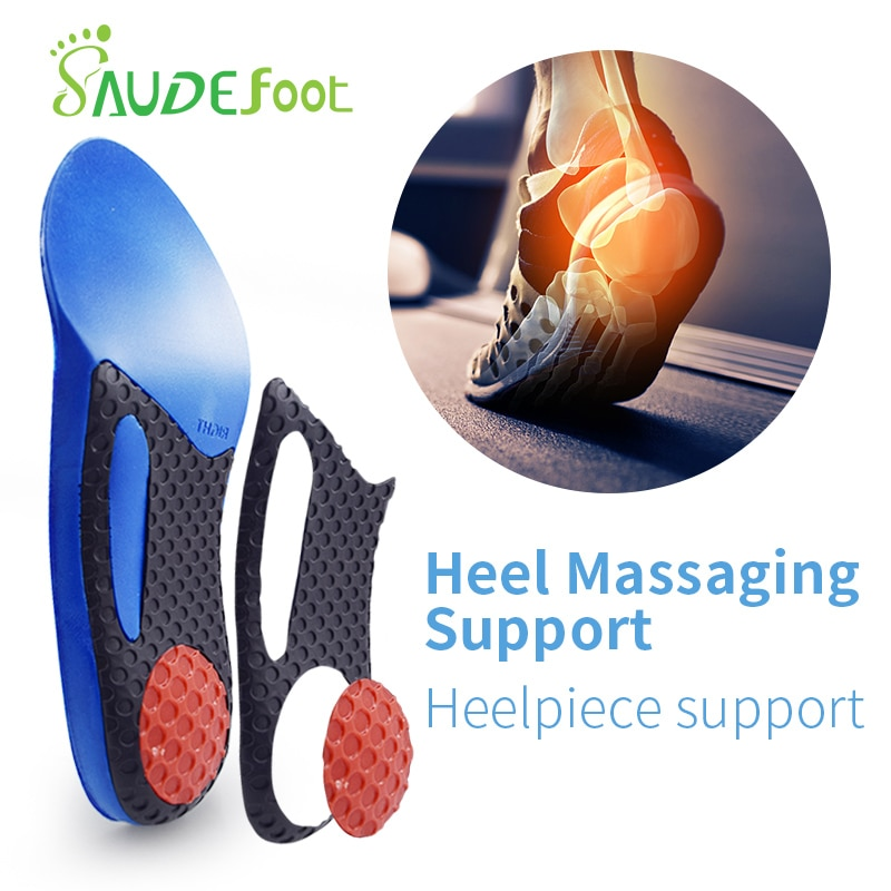 Saudefoot 3/4 length PU insole Flat Foot Orthotic insoles Arch Support Massaging Shoe Pad Cushion Insoles Foot Care Unisex