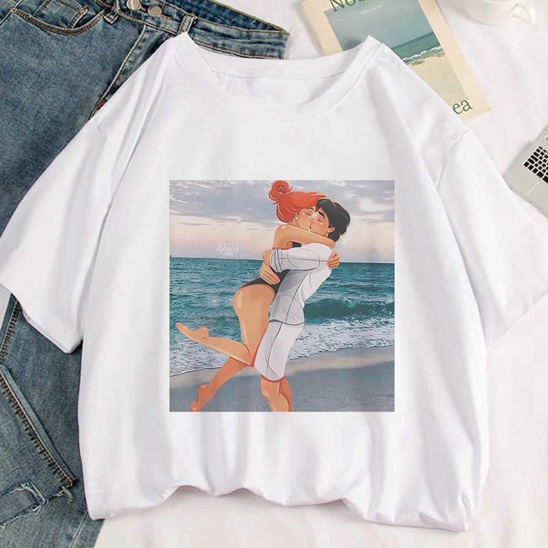 Женская футболка с принтом «Принцесса и принц», белая Повседневная футболка с коротким рукавом в стиле Харадзюку