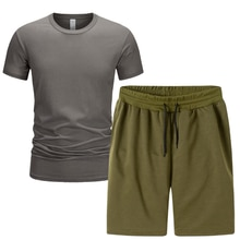 Summer New Short-Sleeve Tshirt +Shorts 2-piece Set New Hot Sale Solid Color Tracksuit Sports Suit Ca