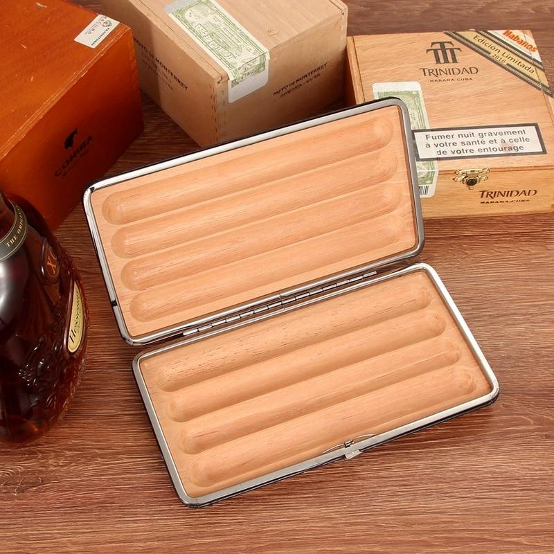 Leather Cigar Case Classic Cedar Wood Cigar Humidor Outdoor Portable Travel Sigaar Box for COHIBA Cigars Accessories enlarge