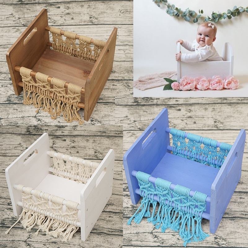 Newborn Photography Props Wooden Bed Baby Photo Bed Posing Props Infant Photo Shoot Accessories Full-moon Baby Photography bed