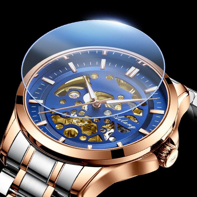Mecânico de Aço Esportes à Prova Ailang Relógio Masculino Totalmente Automático Inoxidável Dwaterproof Água Oco Azul Dial Atmosférica Moda