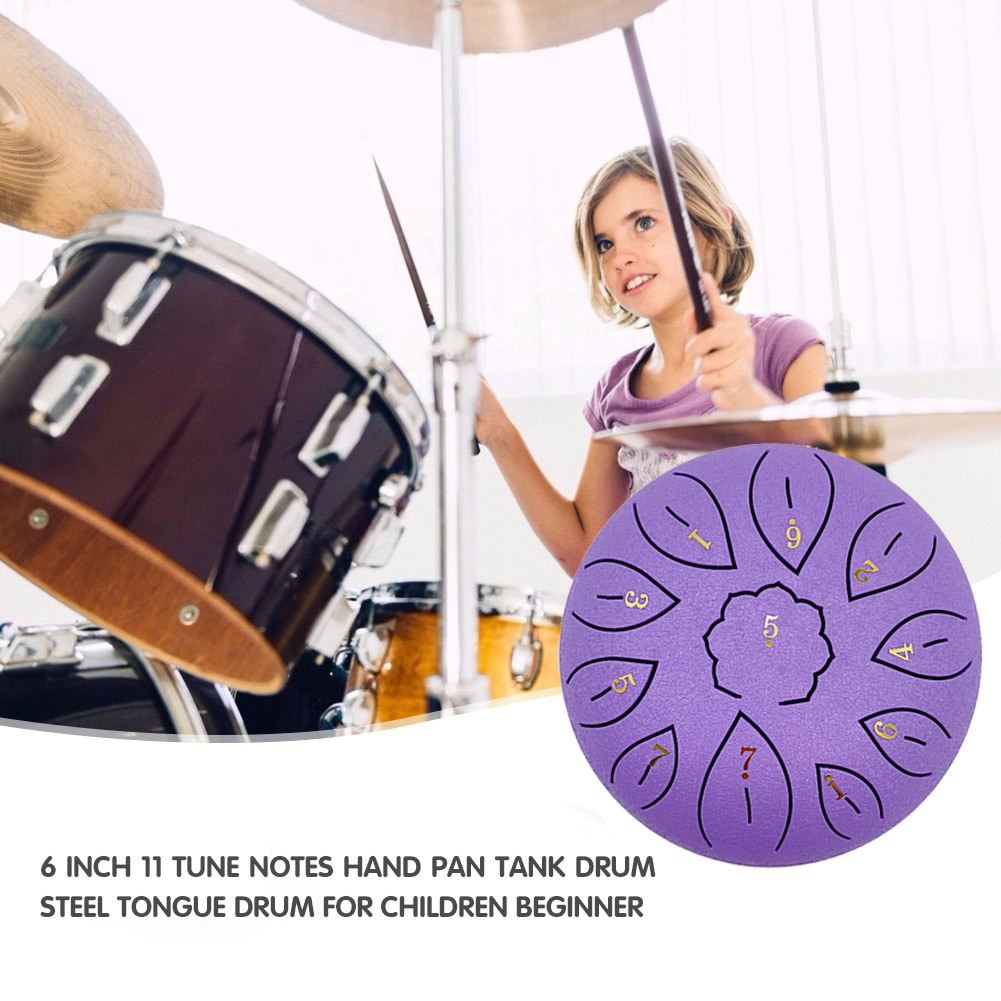 6 inch 8/11 Tune Percussion Musical Instrument Steel Tongue Drum for Beginner  Tune Hand Drum Pad Sticks Carrying Bag Percussion enlarge
