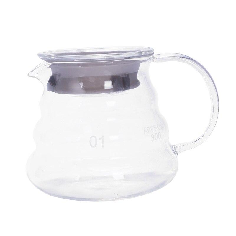 V60 vierte sobre la gama de vidrio Servidor de café jarra de goteo cafetera hervidor de café cerveza percolador de cerveza transparente 360Ml
