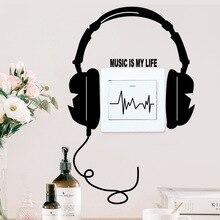 Musique casque interrupteur panneau autocollants pour Studio chambre décor à la maison vinyle auto-amical Stickers muraux Art Stickers muraux