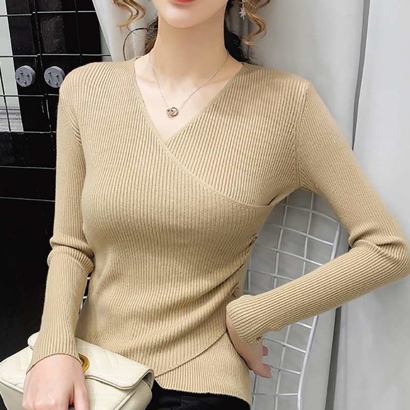 BETHQUENOY  Woman Sweater Elegant Women Clothes V-Neck Sweaters Pull Femme Vrouw Jersey Mujer Invierno 2020 Winter Truien Dames
