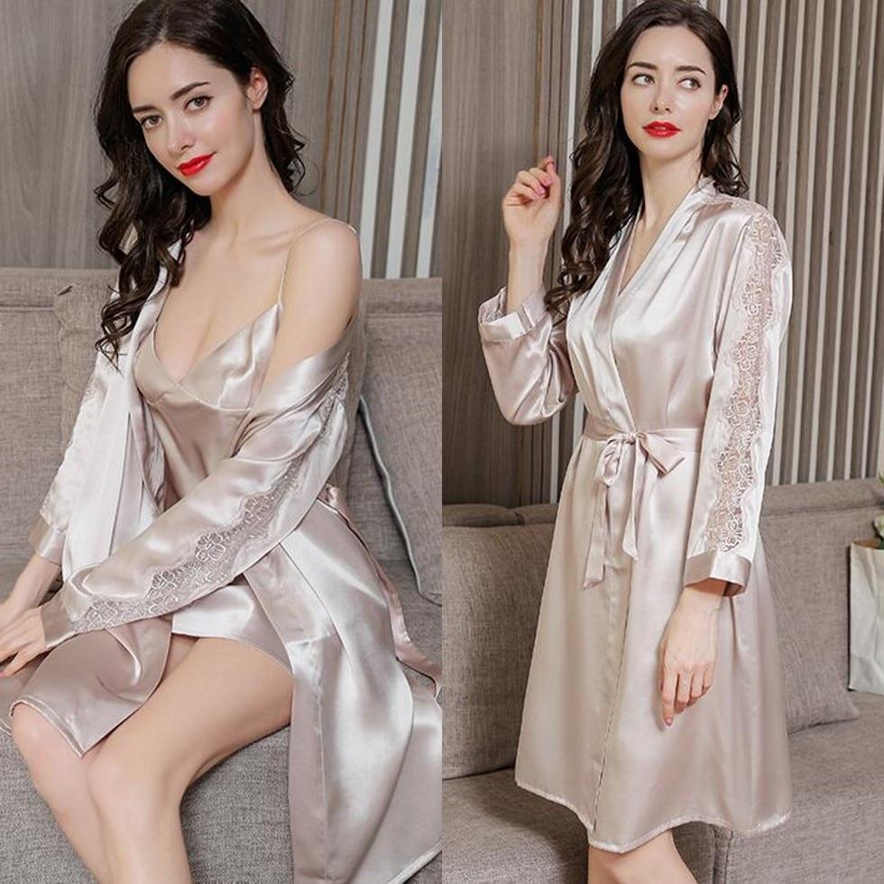 100% الحرير الخالص المرأة قميص رداء بيجامة مجموعة ملابس خاصة ثوب النوم L-2XL XM007