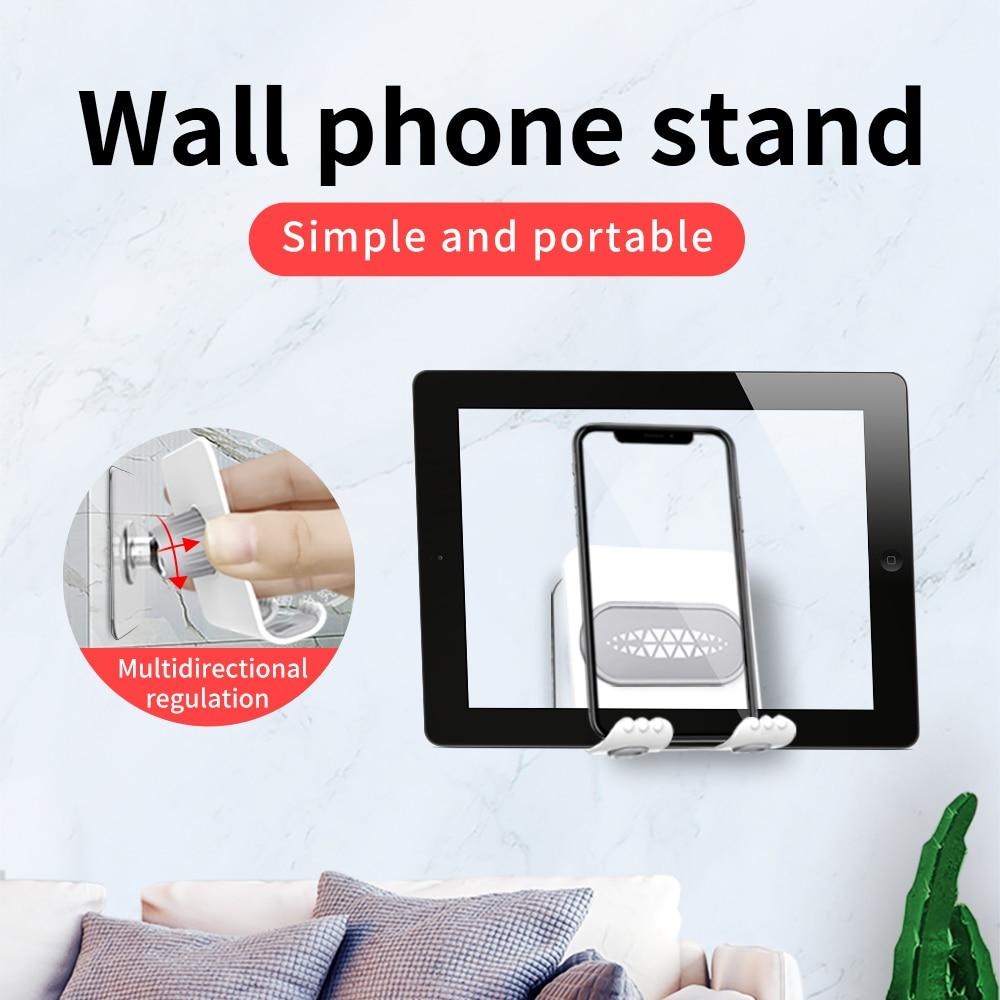 AQO soporte para teléfono móvil para iPhone 7 6X8 soporte adhesivo para montaje en pared soporte para teléfono Samsung Tablet soporte de montaje