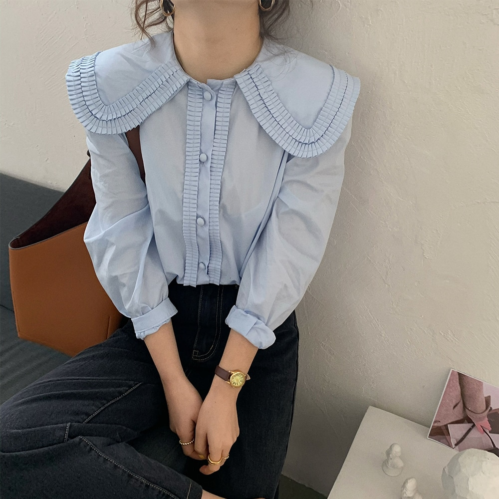 Hcede2a24a0b3486aa91b7d6e067c4221B - Spring / Autumn Frilled Big Lapel Collar Long Sleeves Solid Blouse