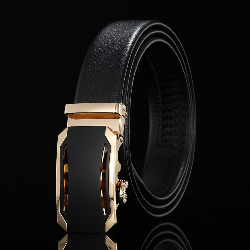 Peikong Brand Designer Belts Luxury Automatic Buckle Genuine Leather men's Waist High Quality Fashion Wide Black Belt For Men