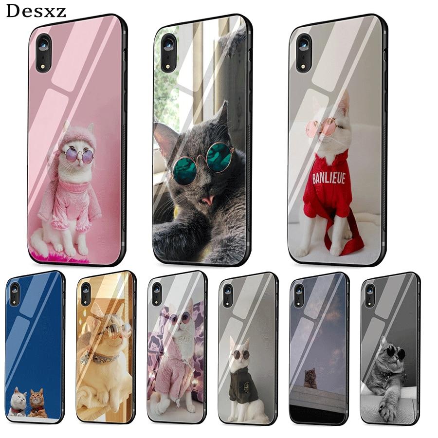 Funda de vidrio para teléfono móvil para iPhone 5 y 5s SE 6 6s 7 8 Plus XR X XS Max cubierta de gato de pelo corto doméstico