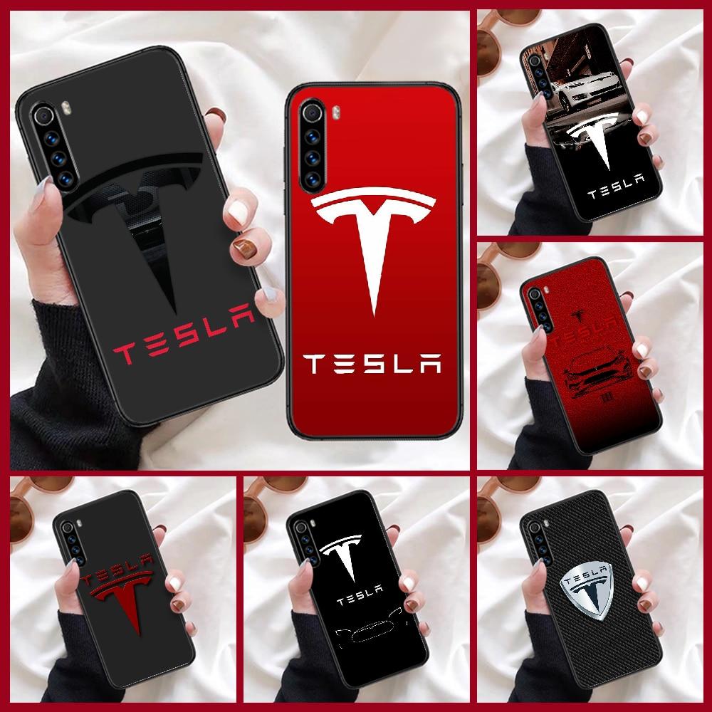 electric car Teslae logo Phone Case For Xiaomi Redmi Note 7 8 8T 9 9S 4X 7 7A 9A K30 Pro Ultra black