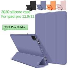 Étui en Silicone pour Ipad 10 2 7th A2197 Dair 4 Smart Cover avec Porte-Crayon pour Ipad Pro 11 12 9 A2228 A2231 A1980 A2013 A2229
