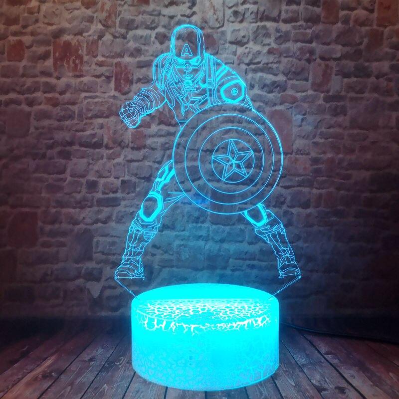 Flashing 3D LED Colorful Touch Desk Nightlight Sleeping Fairy light Marvel Captain America Figure Light-up Toys gift