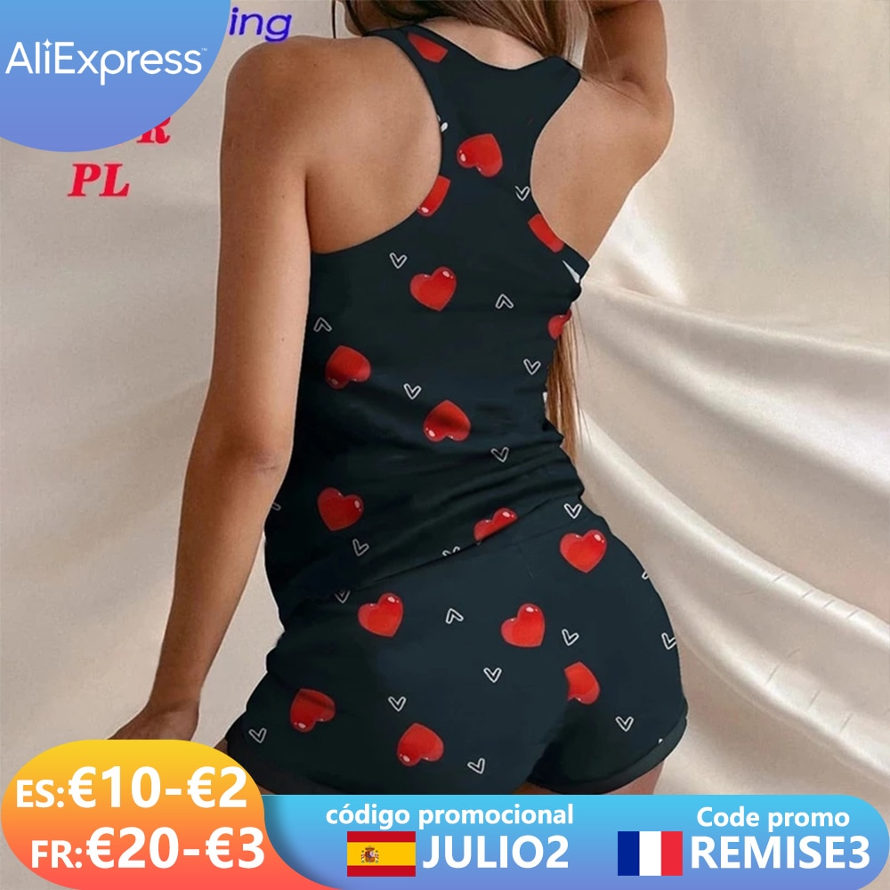 2021 بيجاما للنساء ملابس للنوم النساء منامة القلب طباعة ثوب النوم تكدرت انتفض السراويل مجموعة الملابس الداخلية ملابس المنزل