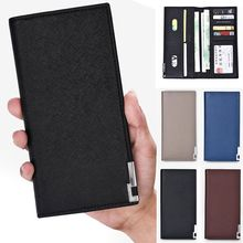 NEW Men Luxury Leather Wallet ID Card Holder Purse Checkbook Long Clutch Bifold PU Leather Synthetic