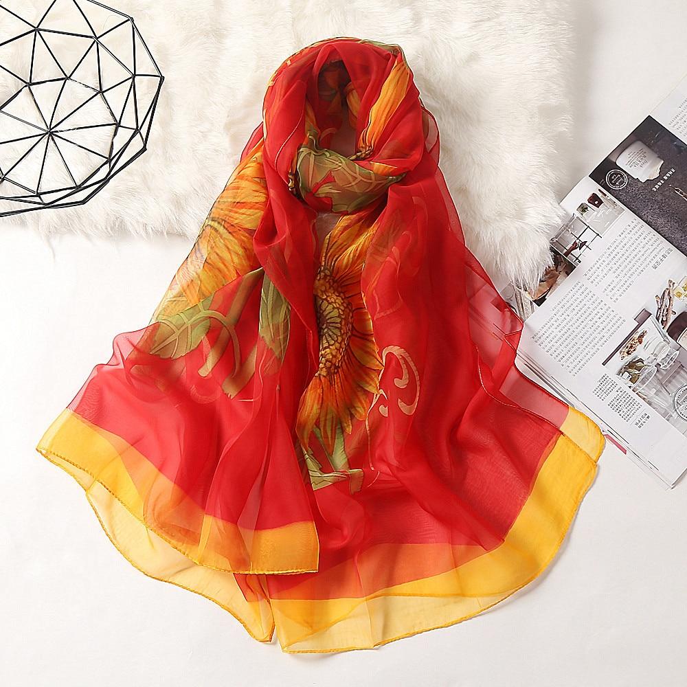 Fashion Sunflower Printing Chiffon Scarves Silk Scarf Women 180*90cm Large Long Soft Sunscreen Scarf Scarves Wrap Beach Shawl недорого