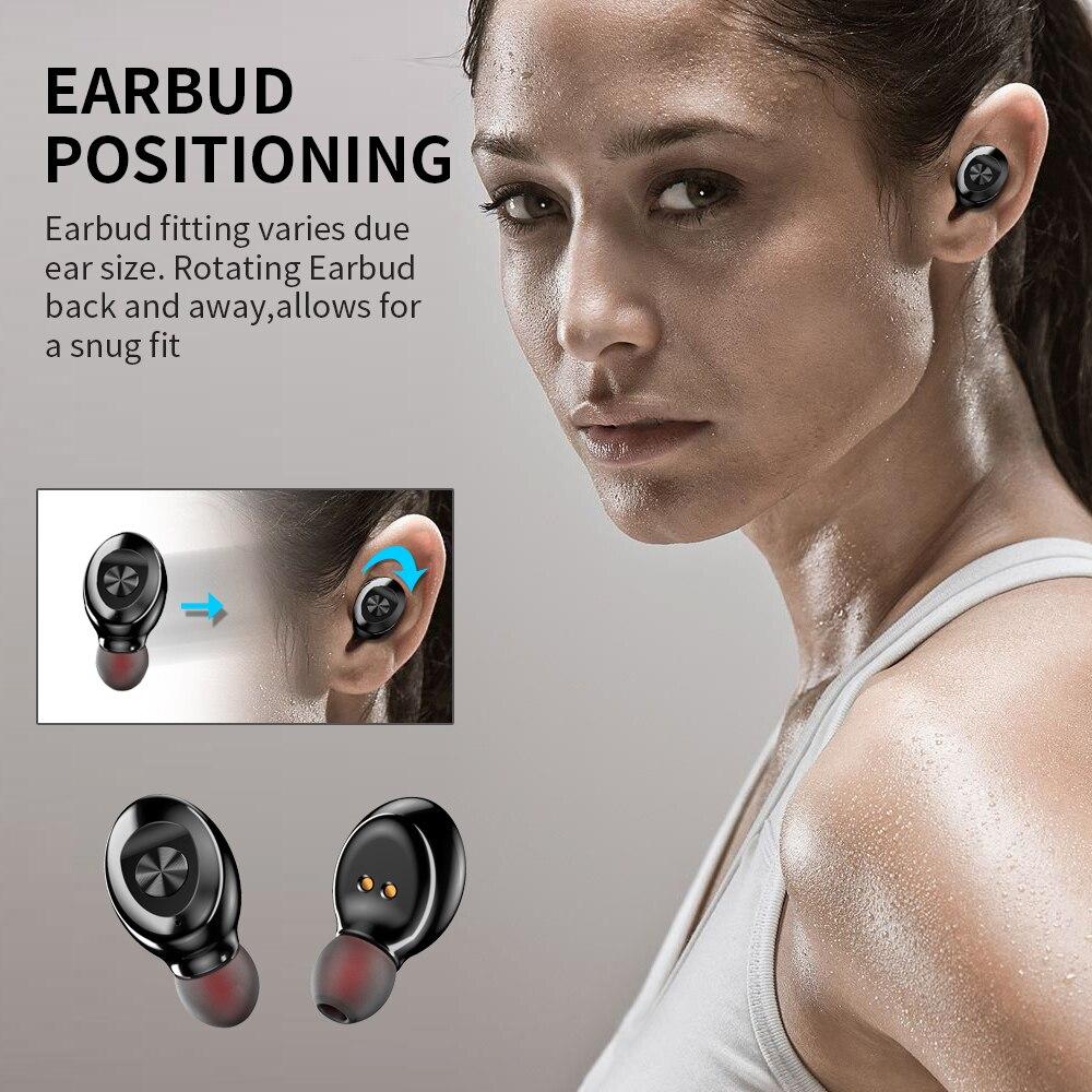 Bluetooth Earphone Wireless headphone Sport Earpiece Mini Headset Stereo Sound  In Ear IPX5 Waterproof tws 5.0   power display